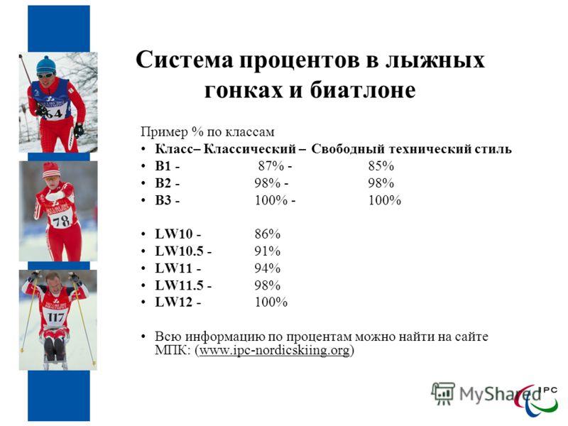 Система процентов в лыжных гонках и биатлоне Пример % по классам Класс– Классический – Свободный технический стиль B1 - 87% - 85% B2 - 98% - 98% B3 - 100% -100% LW10 - 86% LW10.5 - 91% LW11 - 94% LW11.5 - 98% LW12 - 100% Всю информацию по процентам м