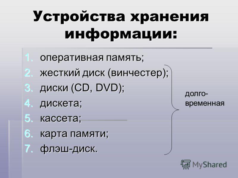 Устройства хранения информации: 1.оперативная память; 2.жесткий диск (винчестер); 3.диски (CD, DVD); 4.дискета; 5.кассета; 6.карта памяти; 7.флэш-диск. долго- временная