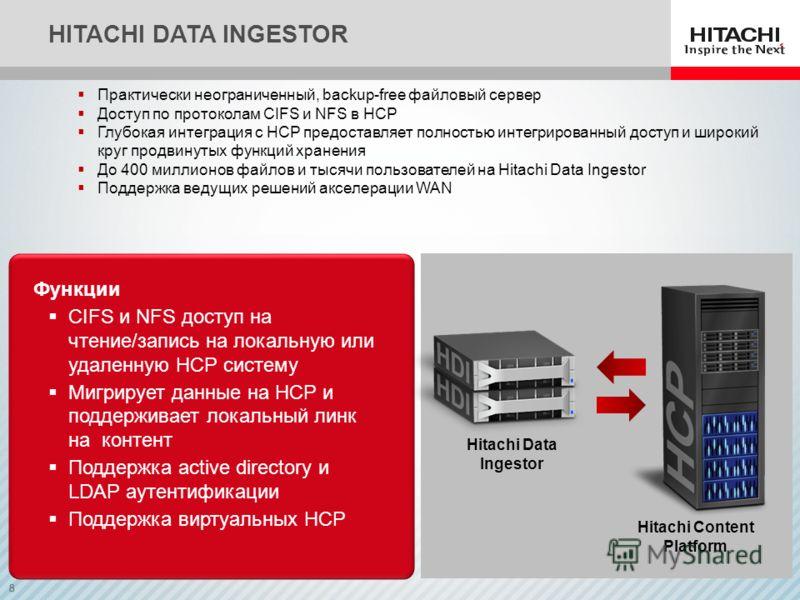8 HITACHI DATA INGESTOR Практически неограниченный, backup-free файловый сервер Доступ по протоколам CIFS и NFS в HCP Глубокая интеграция с HCP предоставляет полностью интегрированный доступ и широкий круг продвинутых функций хранения До 400 миллионо