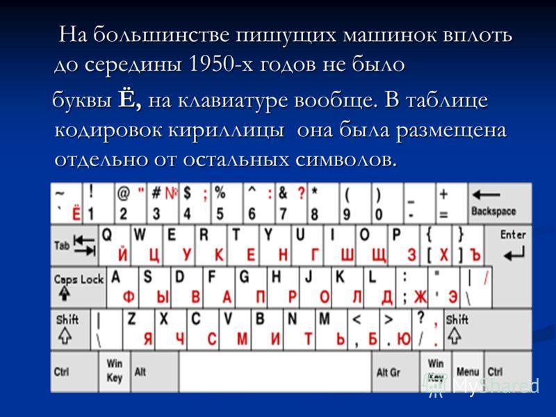 На большинстве пишущих машинок вплоть до середины 1950-х годов не было На большинстве пишущих машинок вплоть до середины 1950-х годов не было буквы Ё, на клавиатуре вообще. В таблице кодировок кириллицы она была размещена отдельно от остальных символ