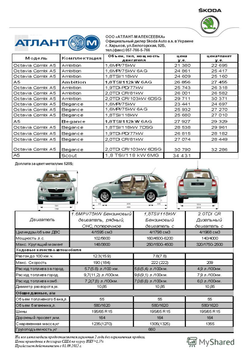 Доплата за цвет металлик 520$; На все автомобили предоставляется гарантия 2 года без ограничения пробега. Цены приведены в долларах США по курсу НБУ+1,5% Прайслист действителен c 01.09.2012 г. ООО «АТЛАНТ-М АЛЕКСЕЕВКА» Официальный дилер Skoda Auto a.