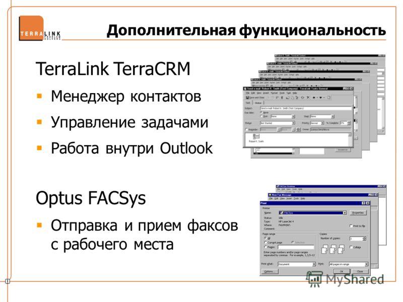 Optus FACSys Отправка и прием факсов с рабочего места TerraLink TerraCRM Менеджер контактов Управление задачами Работа внутри Outlook