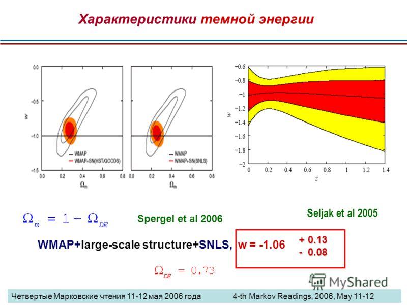 WMAP+large-scale structure+SNLS, w = -1.06 + 0.13 - 0.08 Seljak et al 2005 Spergel et al 2006 Характеристики темной энергии Четвертые Марковские чтения 11-12 мая 2006 года 4-th Markov Readings, 2006, May 11-12
