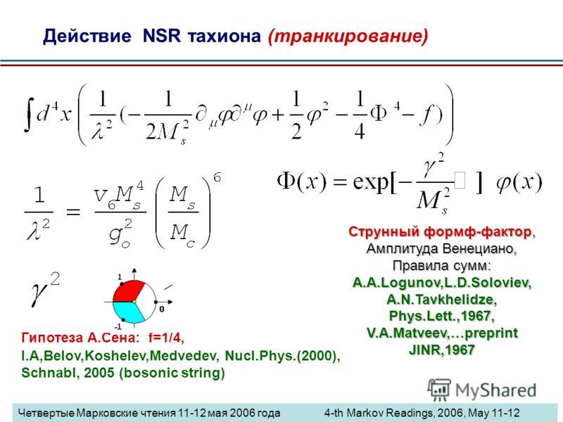 Действие NSR тахиона (транкирование) Гипотеза А.Сена: f=1/4, I.A,Belov,Koshelev,Medvedev, Nucl.Phys.(2000), Schnabl, 2005 (bosonic string) Струнный формф-фактор, Амплитуда Венециано, Правила сумм: A.A.Logunov,L.D.Soloviev, A.N.Tavkhelidze, Phys.Lett.