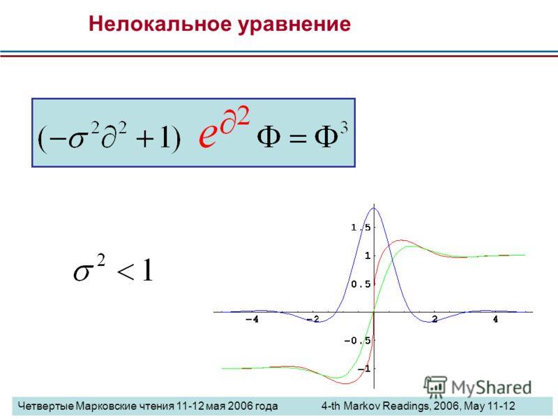 Нелокальное уравнение Четвертые Марковские чтения 11-12 мая 2006 года 4-th Markov Readings, 2006, May 11-12