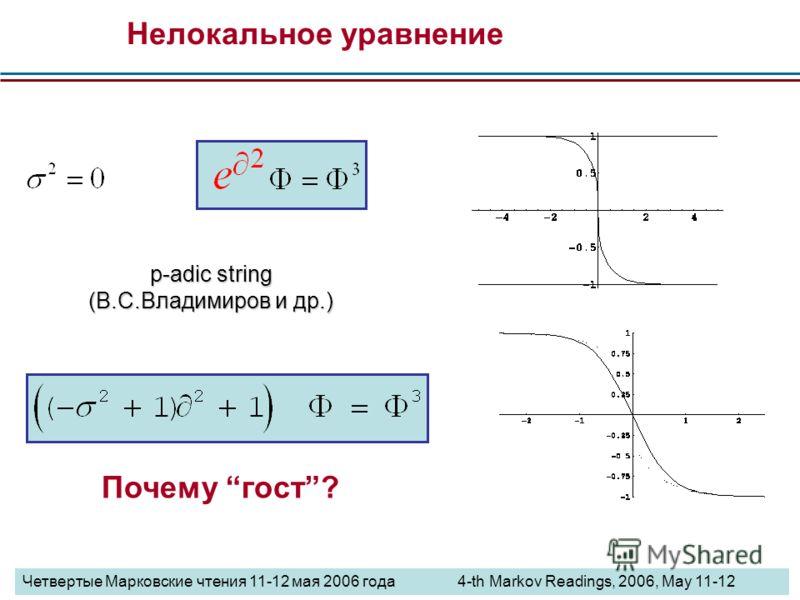 Почему гост? Нелокальное уравнение p-adic string (В.С.Владимиров и др.) Четвертые Марковские чтения 11-12 мая 2006 года 4-th Markov Readings, 2006, May 11-12