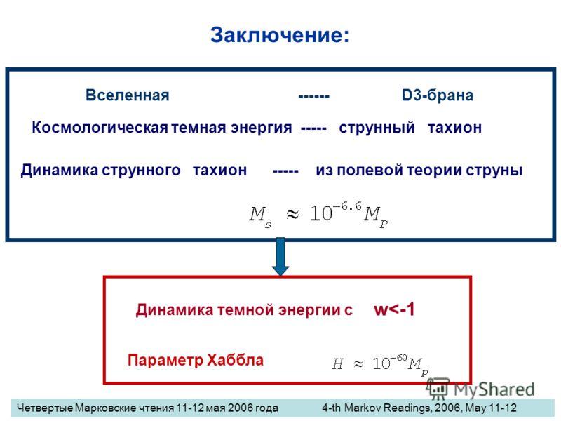 Заключение: Космологическая темная энергия ----- струнный тахион Динамика темной энергии с w