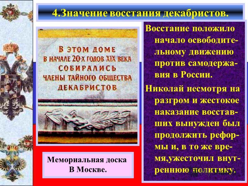 Восстание положило начало освободите- льному движению против самодержа- вия в России. Николай несмотря на разгром и жестокое наказание восстав- ших вынужден был продолжить рефор- мы и, в то же вре- мя,ужесточил внут- реннюю политику. 4.Значение восст