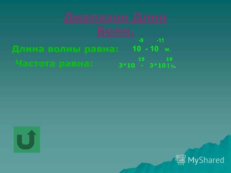 Диапазон Длин Волн. Длина волны равна: -9 -11 10 - 10 м. Частота равна: 15 19 3*10 - 3*10 Гц.