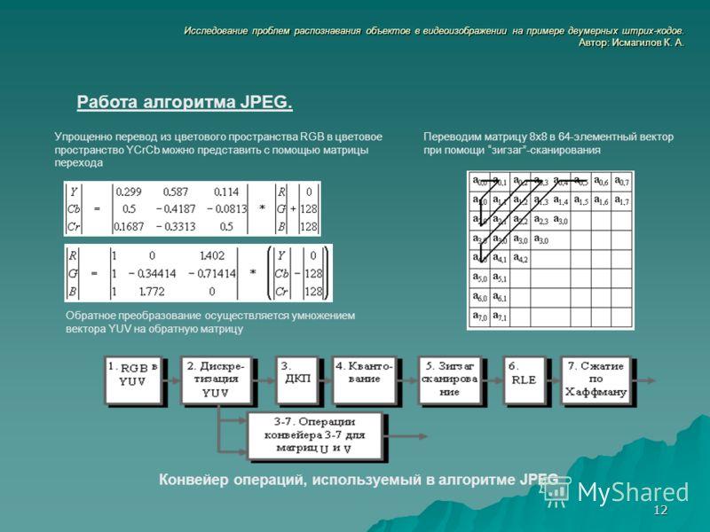12 Исследование проблем распознавания объектов в видеоизображении на примере двумерных штрих-кодов. Автор: Исмагилов К. А. Работа алгоритма JPEG. Упрощенно перевод из цветового пространства RGB в цветовое пространство YCrCb можно представить с помощь