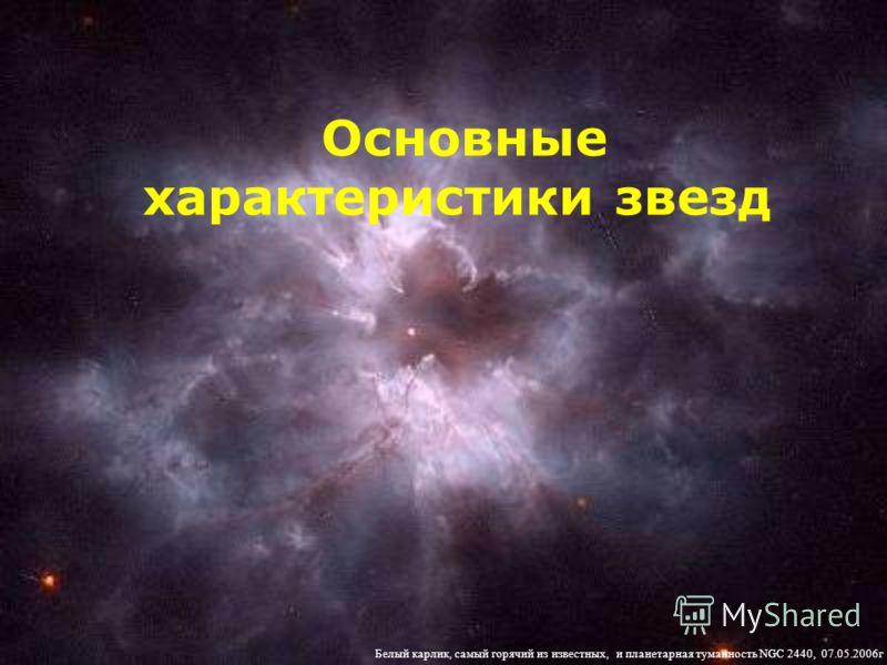 Основные характеристики звезд Белый карлик, самый горячий из известных, и планетарная туманность NGC 2440, 07.05.2006г
