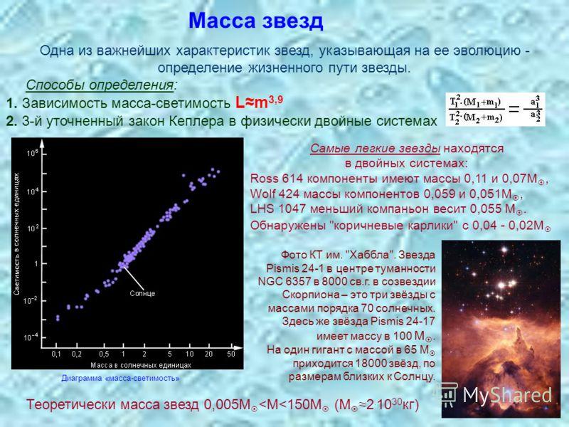 Масса звезд Одна из важнейших характеристик звезд, указывающая на ее эволюцию - определение жизненного пути звезды. Способы определения: 1. Зависимость масса-светимость Lm 3,9 2. 3-й уточненный закон Кеплера в физически двойные системах Теоретически