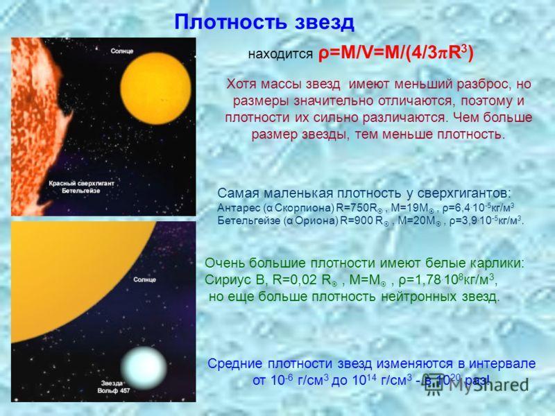 Плотность звезд находится ρ=М/V=M/(4/3 π R 3 ) Хотя массы звезд имеют меньший разброс, но размеры значительно отличаются, поэтому и плотности их сильно различаются. Чем больше размер звезды, тем меньше плотность. Самая маленькая плотность у сверхгига
