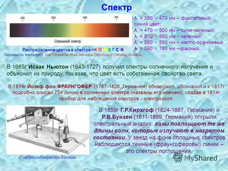 Спектр λ = 380 470 нм – фиолетовый, синий цвет; λ = 470 500 нм – сине-зеленый; λ = 500 560 нм – зеленый; λ = 560 590 нм – желто-оранжевый λ = 590 760 нм –красный. Распределение цветов в спектре =К О Ж З Г С Ф Запомнить, например: Как Однажды Жак Звон