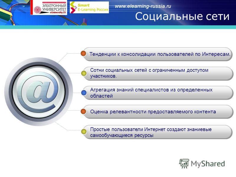 www.elearning-russia.ru Социальные сети Тенденции к консолидации пользователей по Интересам. Сотни социальных сетей с ограниченным доступом участников. Агрегация знаний специалистов из определенных областей Оценка релевантности предоставляемого конте