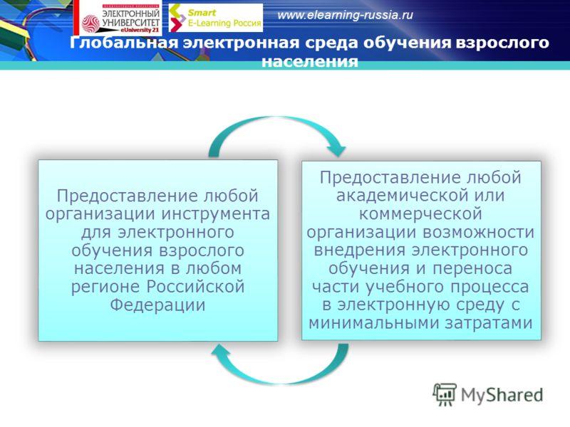 www.elearning-russia.ru Глобальная электронная среда обучения взрослого населения