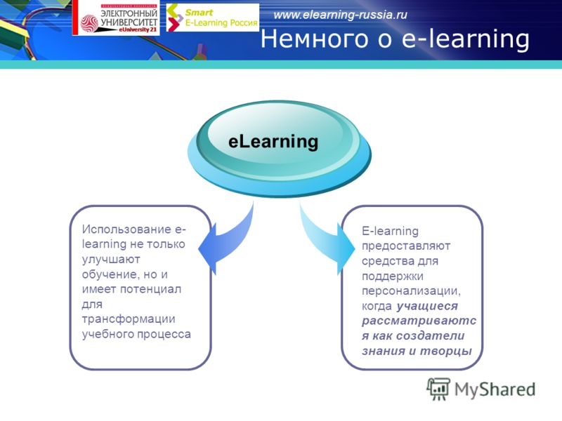 www.elearning-russia.ru Немного о e-learning Использование e- learning не только улучшают обучение, но и имеет потенциал для трансформации учебного процесса eLearning E-learning предоставляют средства для поддержки персонализации, когда учащиеся расс