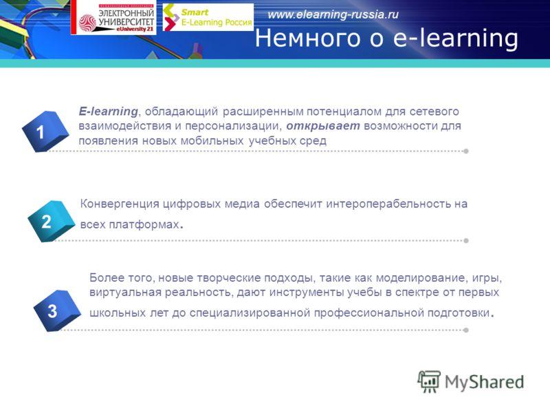 www.elearning-russia.ru E-learning, обладающий расширенным потенциалом для сетевого взаимодействия и персонализации, открывает возможности для появления новых мобильных учебных сред 1 Конвергенция цифровых медиа обеспечит интероперабельность на всех