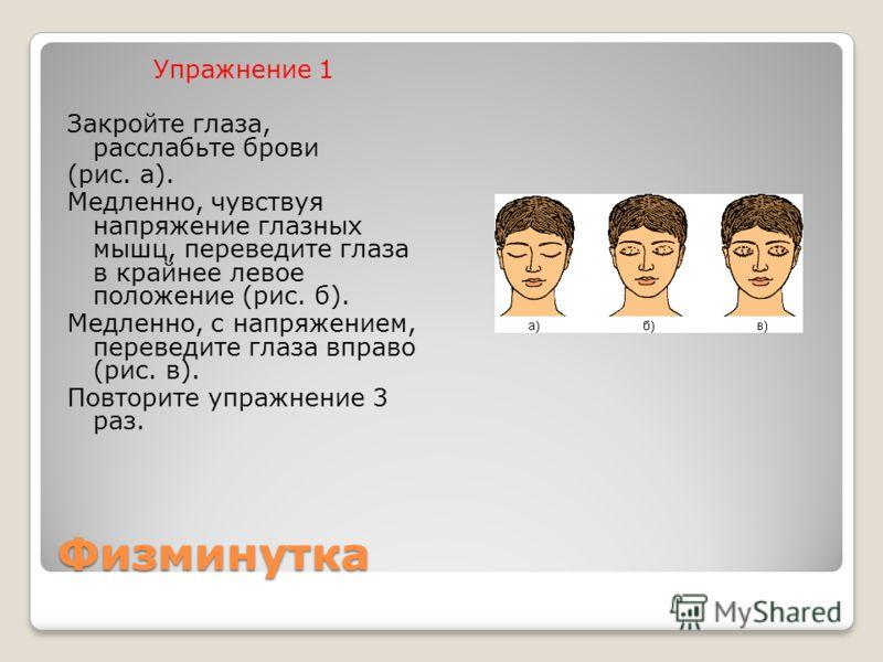 Физминутка Упражнение 1 Закройте глаза, расслабьте брови (рис. а). Медленно, чувствуя напряжение глазных мышц, переведите глаза в крайнее левое положение (рис. б). Медленно, с напряжением, переведите глаза вправо (рис. в). Повторите упражнение 3 раз.