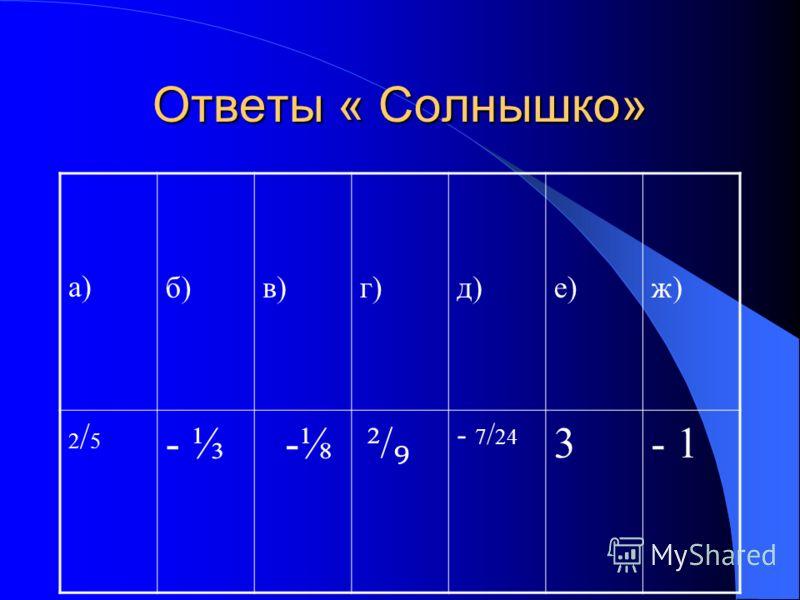 «Солнышко» Вычислить устно: б а в ж г е д - 1 0,6 - - 3 9 -