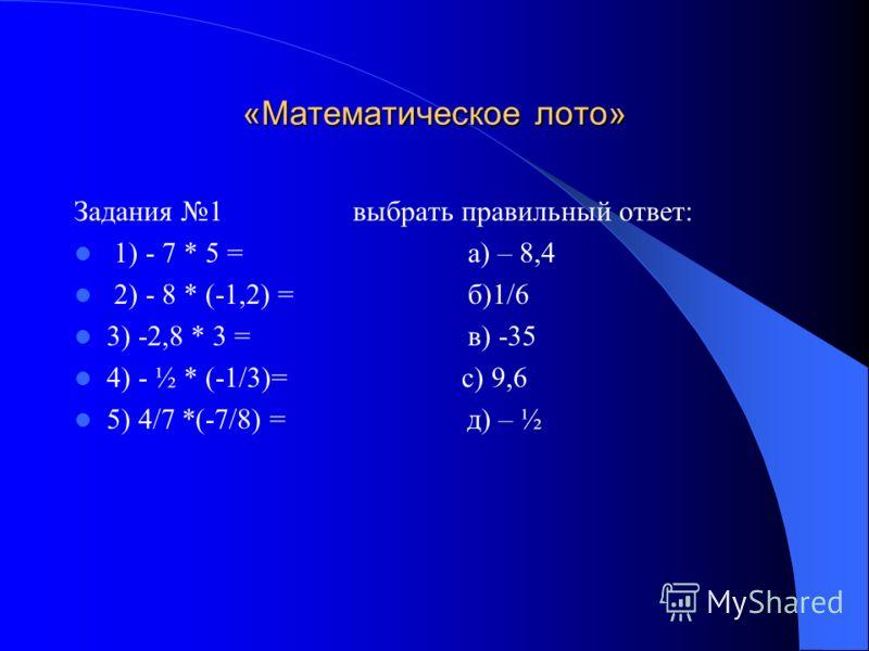 Блок – схема вычисления произведения двух чисел Рациональные числа. а*ва*в IаI*IвIIаI*IвI а и в одного знака нет да Знак «-» Знак «+»