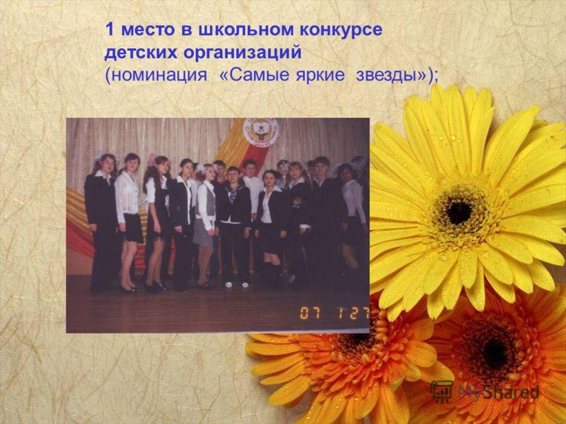 1 место в школьном конкурсе детских организаций (номинация «Самые яркие звезды»);