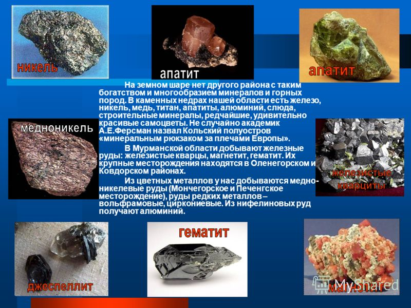 На земном шаре нет другого района с таким богатством и многообразием минералов и горных пород. В каменных недрах нашей области есть железо, никель, медь, титан, апатиты, алюминий, слюда, строительные минералы, редчайшие, удивительно красивые самоцвет