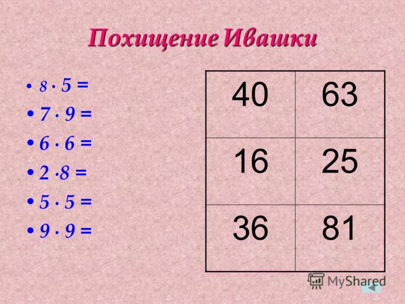 Похищение Ивашки 8 5 = 7 9 = 6 6 = 2 8 = 5 5 = 9 9 = 4063 1625 3681