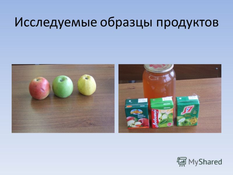 Исследуемые образцы продуктов