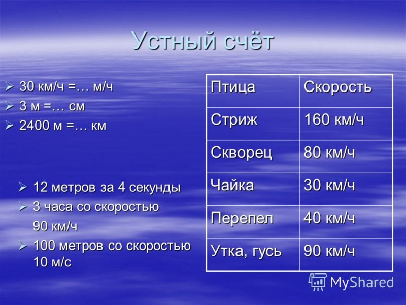 Устный счёт 12 метров за 4 секунды 12 метров за 4 секунды 3 часа со скоростью 3 часа со скоростью 90 км/ч 100 метров со скоростью 10 м/с 100 метров со скоростью 10 м/с 30 км/ч =… м/ч 30 км/ч =… м/ч 3 м =… см 3 м =… см 2400 м =… км 2400 м =… км ПтицаС