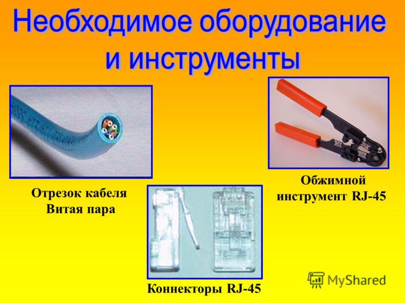 Отрезок кабеля Витая пара Обжимной инструмент RJ-45 Коннекторы RJ-45
