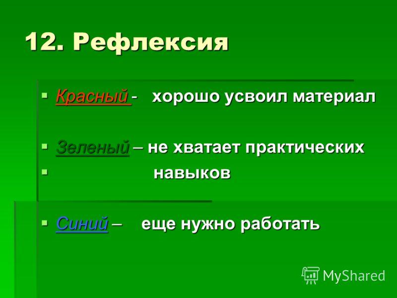 12. Рефлексия Красный - хорошо усвоил материал Красный - хорошо усвоил материал Зеленый – не хватает практических Зеленый – не хватает практических навыков навыков Синий – еще нужно работать Синий – еще нужно работать