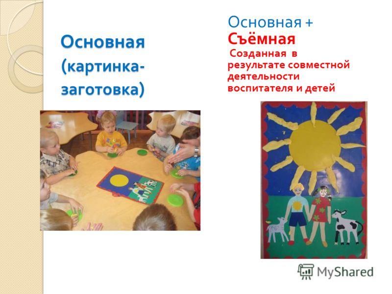 Основная ( картинка - заготовка ) Основная + Съёмная Созданная в результате совместной деятельности воспитателя и детей