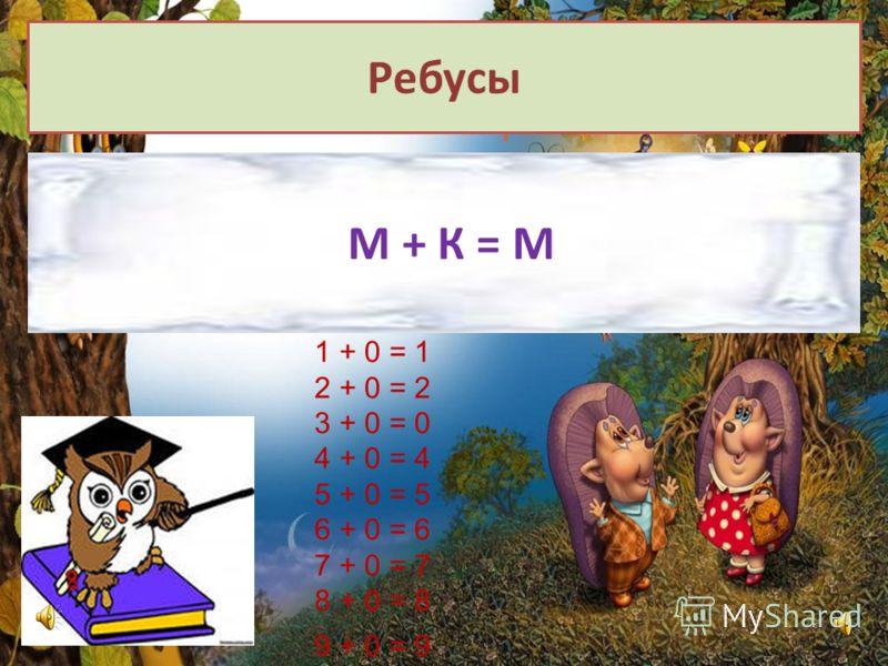 Ребусы М + К = М 1 + 0 = 1 2 + 0 = 2 3 + 0 = 0 4 + 0 = 4 5 + 0 = 5 6 + 0 = 6 7 + 0 = 7 8 + 0 = 8 9 + 0 = 9