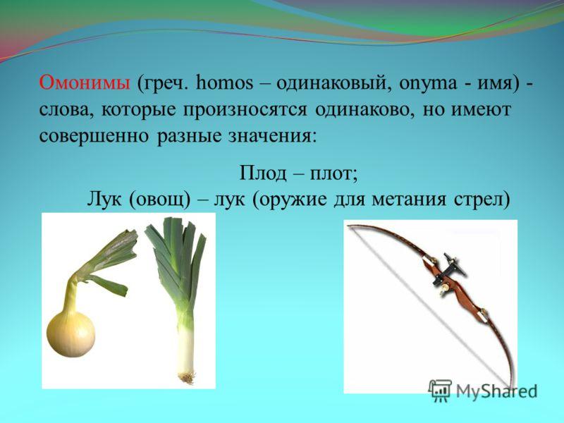 Омонимы (греч. homos – одинаковый, onyma - имя) - слова, которые произносятся одинаково, но имеют совершенно разные значения: Плод – плот; Лук (овощ) – лук (оружие для метания стрел)