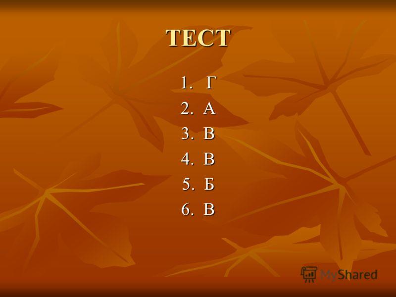 ТЕСТ 1. Г 2. А 3. В 4. В 5. Б 6. В