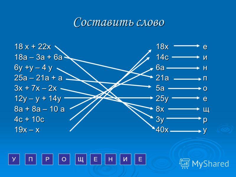 Составить слово 18 х + 22х18х е 18а – 3а + 6а14си 6у +у – 4 у6ан 25а – 21а + а21ап 3х + 7х – 2х5ао 12у – у + 14у25уе 8а + 8а – 10 а8хщ 4с + 10с3ур 19х – х40ху УРПОЩЕНИЕ