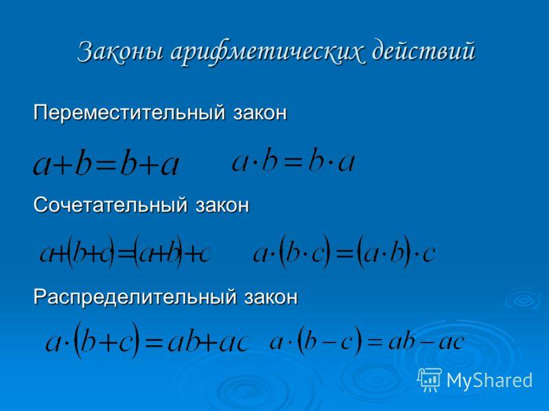 Законы арифметических действий Переместительный закон Сочетательный закон Распределительный закон
