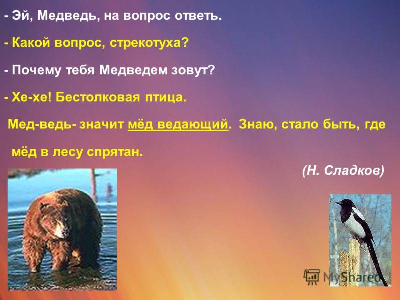 - Эй, Медведь, на вопрос ответь. - Какой вопрос, стрекотуха? - Почему тебя Медведем зовут? - Хе-хе! Бестолковая птица. Мед-ведь- значит мёд ведающий. Знаю, стало быть, где мёд в лесу спрятан. (Н. Сладков)
