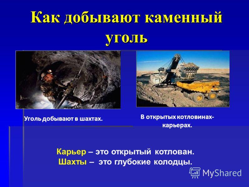 Как добывают каменный уголь Уголь добывают в шахтах. В открытых котловинах- карьерах. Карьер – это открытый котлован. Шахты – это глубокие колодцы.