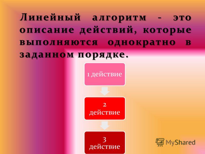 Линейный алгоритм - это описание действий, которые выполняются однократно в заданном порядке. 1 действие 2 действие 3 действие