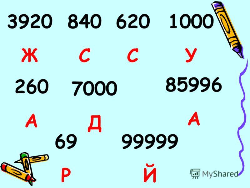 3920 Ж 840 С 620 С 1000 У 260 А 7000 Д 85996 А 99999 Й 69 Р