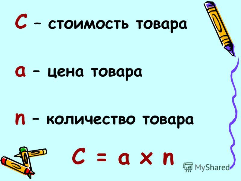 С – стоимость товара а – цена товара n – количество товара C = а х n