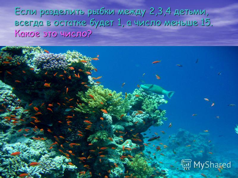 Если разделить рыбки между 2,3,4 детьми, всегда в остатке будет 1, а число меньше 15. Какое это число?