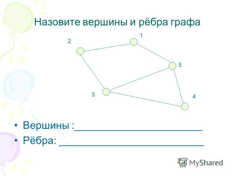 Назовите вершины и рёбра графа Вершины :______________________ Рёбра: _________________________ 1 2 3 4 5