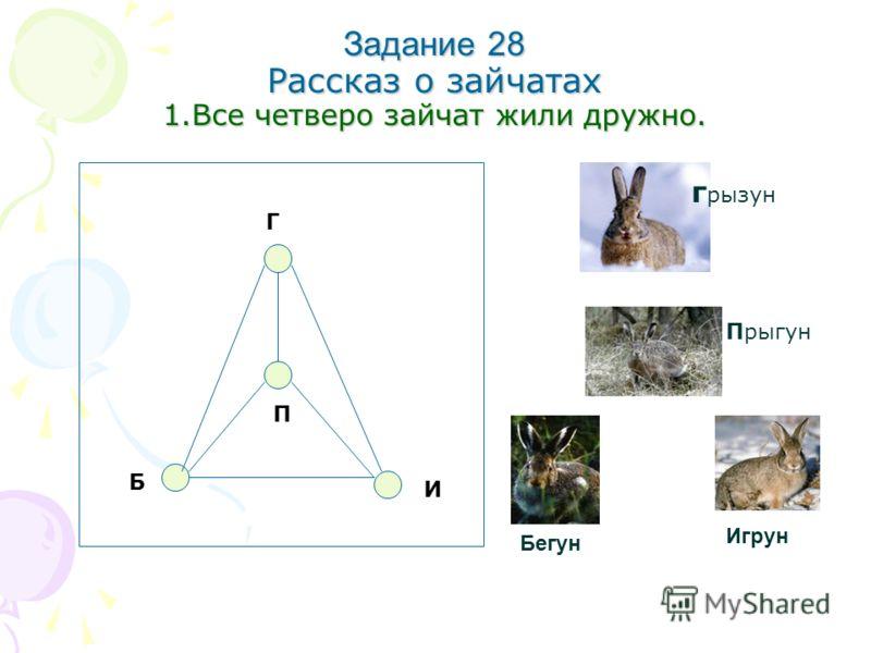 Задание 28 Рассказ о зайчатах 1.Все четверо зайчат жили дружно. И Б П Г г рызун Прыгун Бегун Игрун