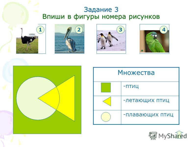 Задание 3 Впиши в фигуры номера рисунков Множества -птиц -летающих птиц -плавающих птиц 1234