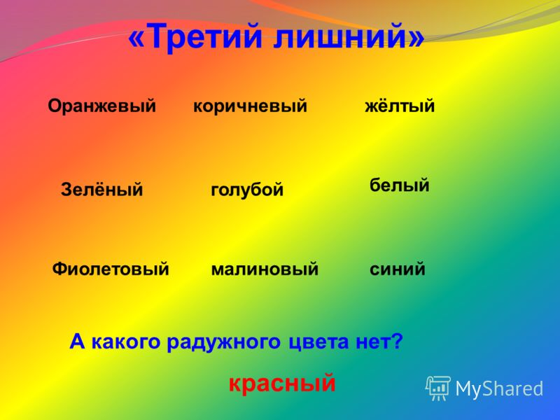 «Третий лишний» Оранжевыйкоричневыйжёлтый Зелёныйголубой белый Фиолетовыймалиновыйсиний А какого радужного цвета нет? красный