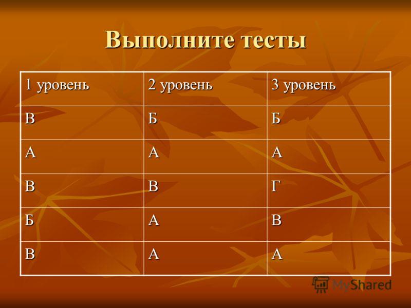 Выполните тесты 1 уровень 2 уровень 3 уровень ВББ ААА ВВГ БАВ ВАА