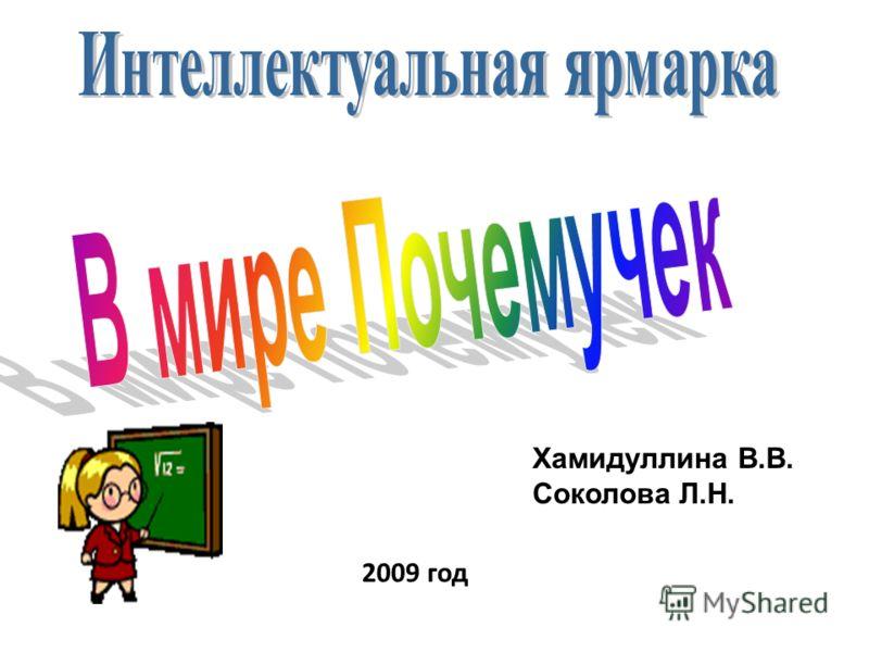 2009 год Хамидуллина В.В. Соколова Л.Н.